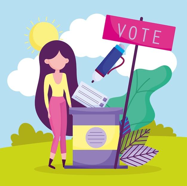 Mulher na estação de votação