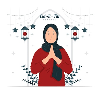 Mulher na ilustração de eid al fitr mubarak