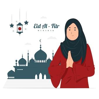 Mulher na ilustração do conceito de eid al fitr mubarak