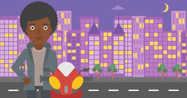 Mulher na ilustração do vetor do capacete do motociclista.