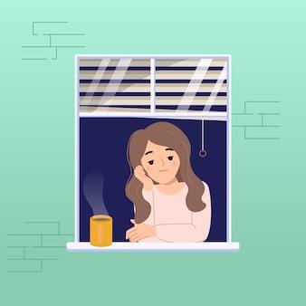 Mulher na janela se sente entediada por causa da doença pandêmica do vírus corona. conceito de bloqueio em casa. projeto liso dos desenhos animados.