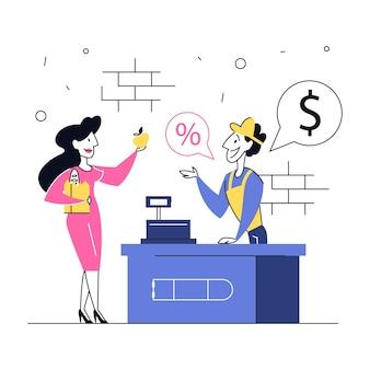 Mulher na mercearia, vá ao caixa e pague pela comida. homem de vendas de uniforme sorridente no balcão. ilustração
