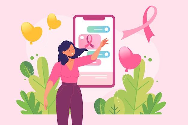 Mulher na mídia social conceito de conscientização do câncer de mama