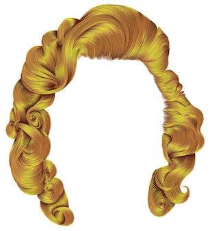 Mulher na moda cabelos brilhantes cores amarelas. cachos de estilo retro. 3d realista.