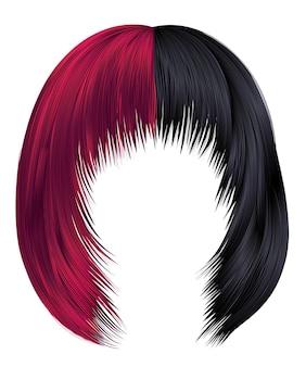 Mulher na moda cabelos cores preto e vermelho. kare com franja. moda de beleza. coloração 3d realista,