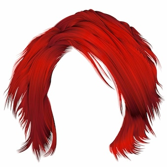 Mulher na moda cabelos despenteados cores vermelhas. 3d realista