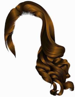Mulher na moda longo encaracolado morena cabelos peruca marrom escuro