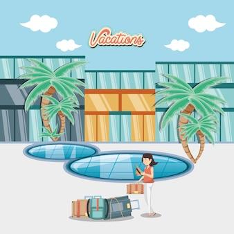 Mulher na piscina cena viajar vector ilustration