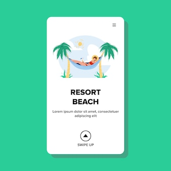 Mulher na praia em um resort para relaxar na rede