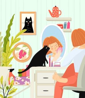Mulher na sala com espelho refletido aplicando maquiagem
