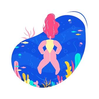 Mulher, natação, em, mar