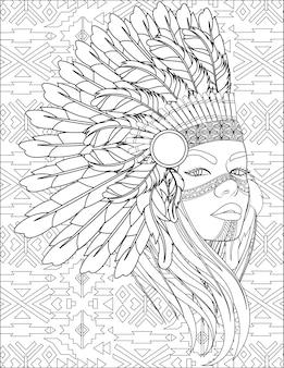 Mulher nativa com cocar de penas no lado e sem cor, desenho de senhora com guerra de águias