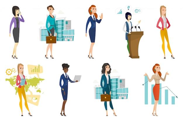 Mulher negócio, aeromoça, doutor, profissão, jogo