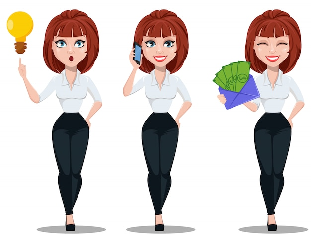 Mulher negócio, em, escritório, estilo, roupas