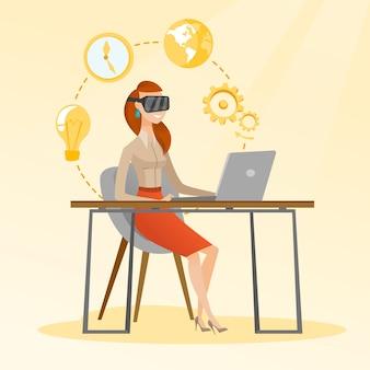 Mulher negócio, em, vr, headset, trabalhando, um computador