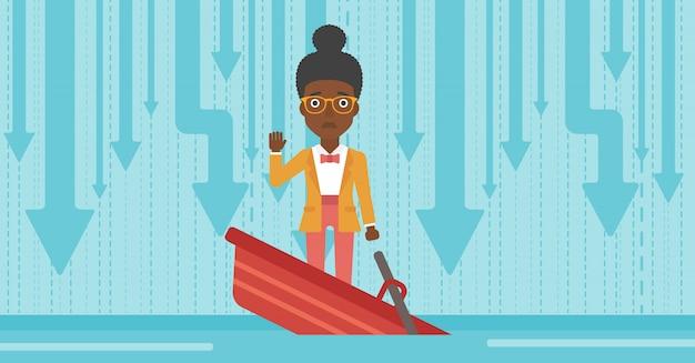 Mulher negócio, ficar, em, afundando, bote