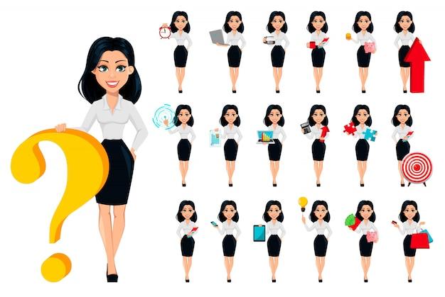 Mulher negócio, jogo, de, dezenove poses