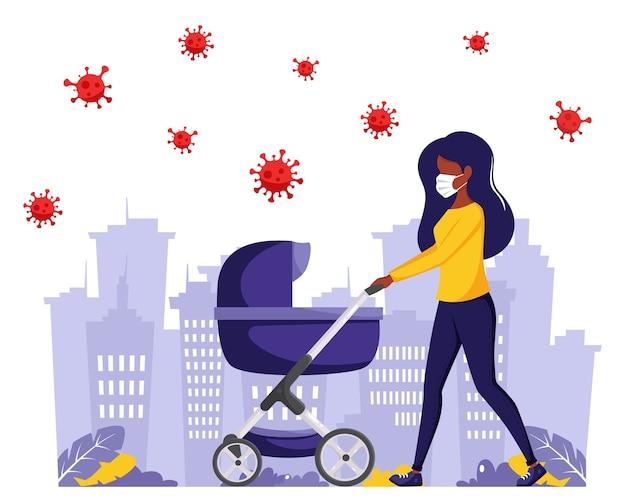 Mulher negra andando com um carrinho de bebê durante a pandemia. mulher negra na máscara facial. atividades ao ar livre durante a pandemia. em estilo simples.