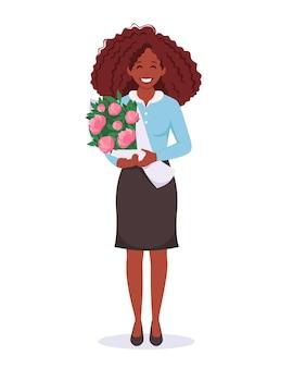 Mulher negra com buquê de flores dia das mães dia das mães dia do professor