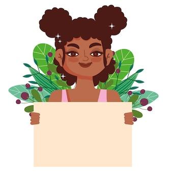 Mulher negra com cabelo encaracolado afro com banner em branco