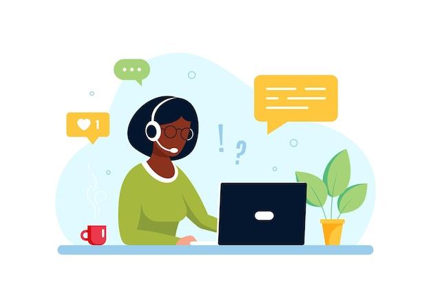 Mulher negra com laptop e fones de ouvido com microfone. conceito de suporte técnico, assistência, call center e atendimento ao cliente. ilustração em vetor estilo simples