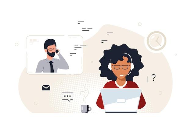 Mulher negra com laptop e fones de ouvido com microfone. suporte técnico, atendimento, call center e conceito de atendimento ao cliente. ilustração em vetor estilo simples