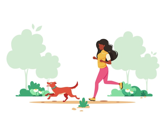 Mulher negra correndo com um cachorro no parque primavera