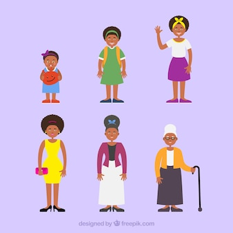 Mulher negra em diferentes idades