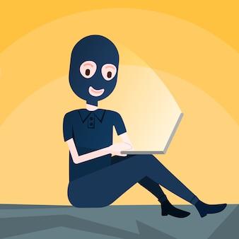 Mulher negra máscara sentado na atividade de hacker de computador