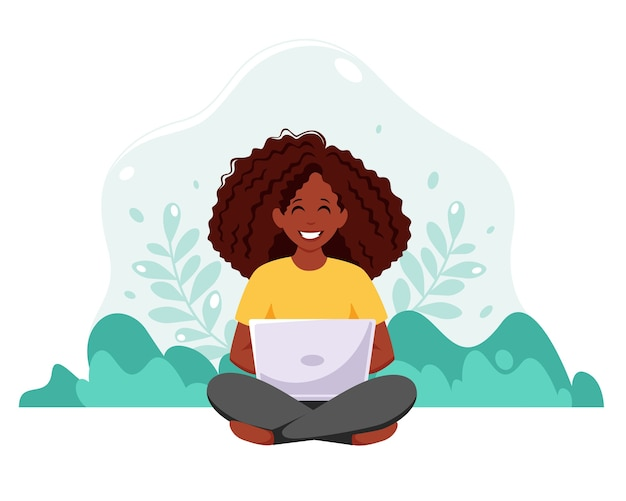 Mulher negra sentada com o laptop no fundo da natureza. freelance, estudar online, trabalhar a partir do conceito de casa. ilustração em estilo simples.