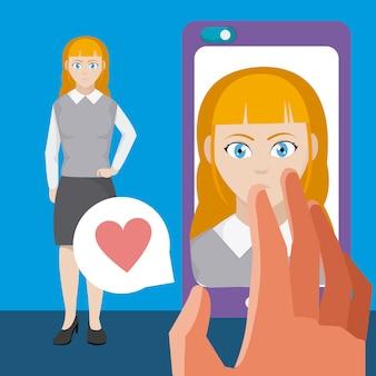 Mulher no aplicativo de namoro para smartphone