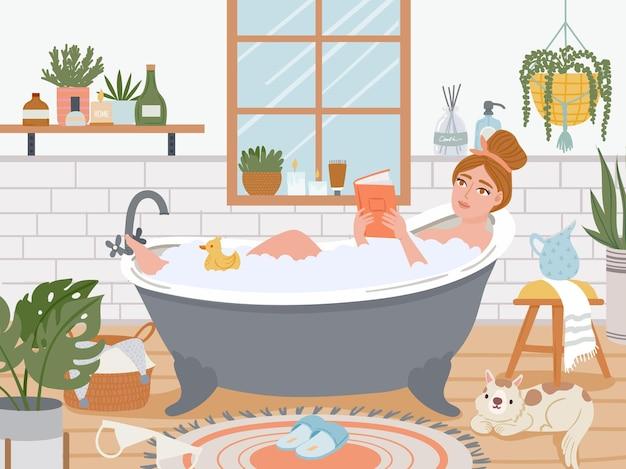 Mulher no banho. garota relaxada na banheira com bolhas de espuma lida no interior do banheiro com plantas. auto-atendimento e higiene, conceito de vetor de spa. ilustração banheiro jovem feminino, banheira e spa