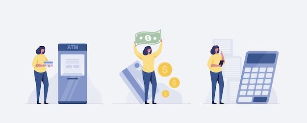 Mulher no caixa eletrônico retirar dinheiro da máquina