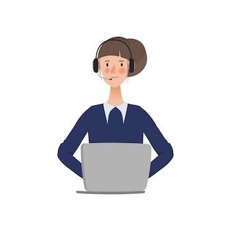 Mulher no centro de chamadas ou serviço ao cliente com um portátil.