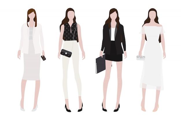 Mulher no dia para coleção de estilo plano de roupa de noite