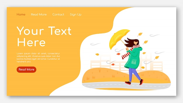 Mulher no modelo de vetor de cor lisa de página de destino de capa de chuva. fêmea com layout de página inicial de guarda-chuva. design do site