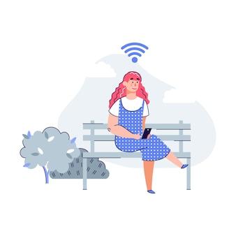Mulher no parque usando ilustração vetorial de rede de comunicação de cidade inteligente isolada