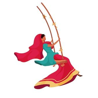 Mulher no personagem sem rosto de sari cor plana