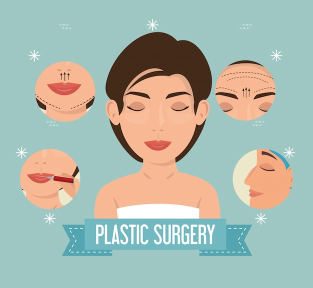 Mulher no processo de cirurgia plástica