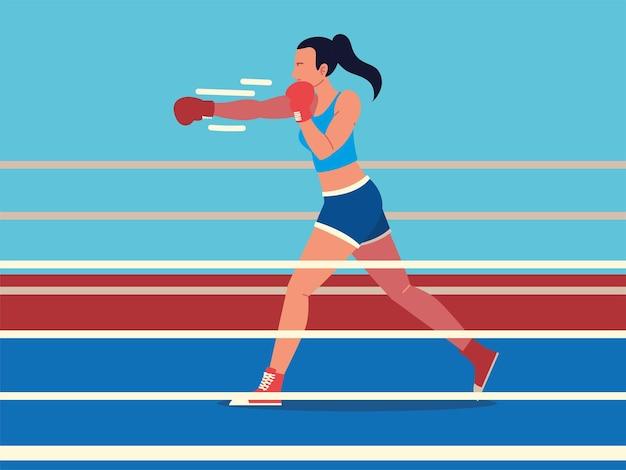 Mulher no ringue de boxe esporte profissional