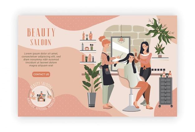 Mulher no salão de beleza, cabeleireiro profissional e maquiagem artista pessoas, ilustração