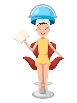 Mulher no salão de cabeleireiro. ilustração