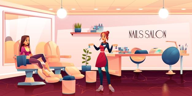 Mulher no salão de pedicure para o procedimento de cuidados com as unhas