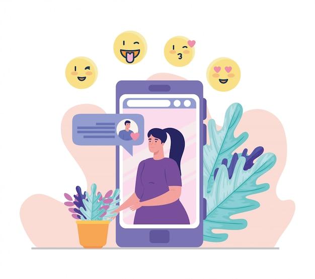 Mulher no smartphone conversando