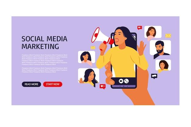 Mulher no smartphone gritando no alto-falante influenciador ou página da web de marketing social crescimento de audiência ou número de seguidores nas mídias sociais