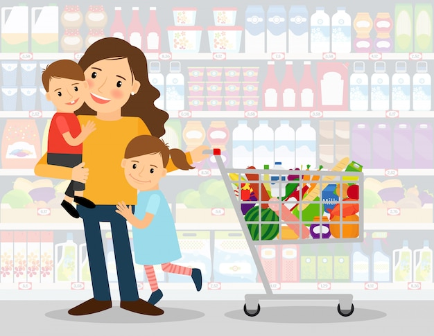 Mulher no supermercado com duas crianças e carrinho de compras cheio de mantimentos. ilustração vetorial