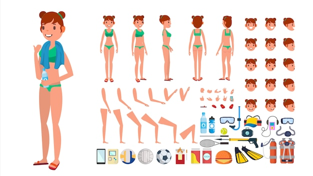 Mulher no vetor do swimsuit. caráter fêmea animado no biquini nadador. conjunto de criação de praia de verão. comprimento total, frente vista traseira. poses, emoções face, gestos. desenhos animados lisos isolados