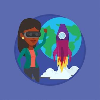 Mulher no vr auricular voando no espaço aberto.