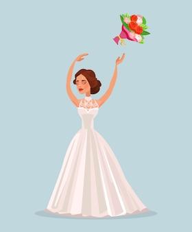 Mulher noiva feliz jogando buquê de flores no casamento, ilustração plana dos desenhos animados