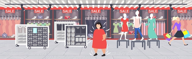 Mulher obesa gorda, escolhendo o vestido novo na loja de moda, sobre menina de tamanho, visitando o mercado de roupas femininas, conceito de obesidade, ilustração em vetor interior interior boutique shopping